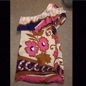 Voom Silk floral one shoulder mini dress /S/